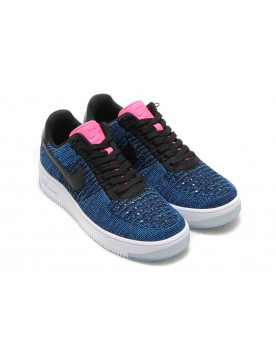 Nike Air Force 1 Flyknit Low Nere/Nere-Profondo Blu Reale-Digital Rosa-Photo Blu 820256-003 Con Prezzo Più Basso